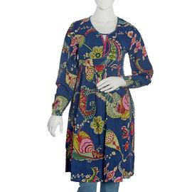 Navy Blue and Multi Colour Floral Pattern Embellished Dress