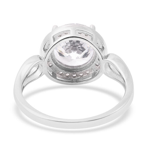 ELANZA Simulated White Diamond Ring in Rhodium Overlay Sterling Silver 4.82 Ct.