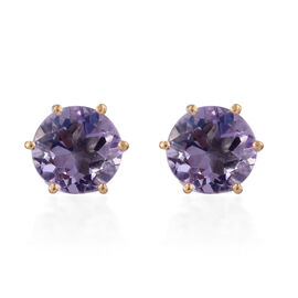 Rose De France Amethyst (Rnd) Stud Earrings (with Push Back) in 14K Gold Overlay Sterling Silver 3.500 Ct.