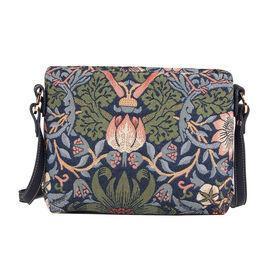 SIGNARE - Tapastry Strawberry Thief Blue Cross Body Bag ( 28 x 18 x 8 cms)