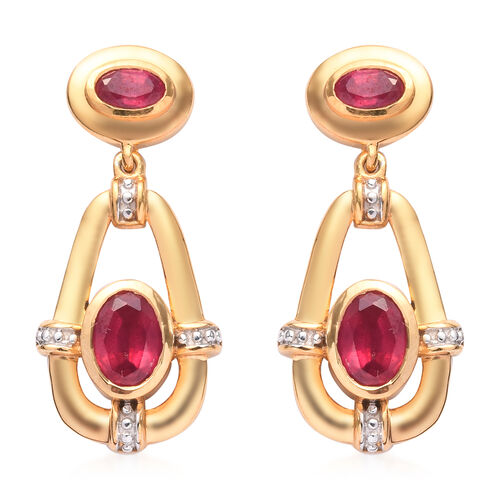 Designer Inspired African Ruby Dangle Earrings (with Push Back) in 14K Gold Overlay Sterling Silver