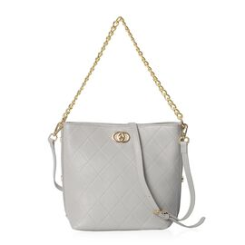 100% Genuine Leather Light Grey Colour Shoulder Bag with Removable Shoulder Strap (Size 27x20.5x25x1