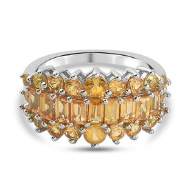 Yellow Sapphire Ring in Platinum Overlay Sterling Silver 2.39 Ct.