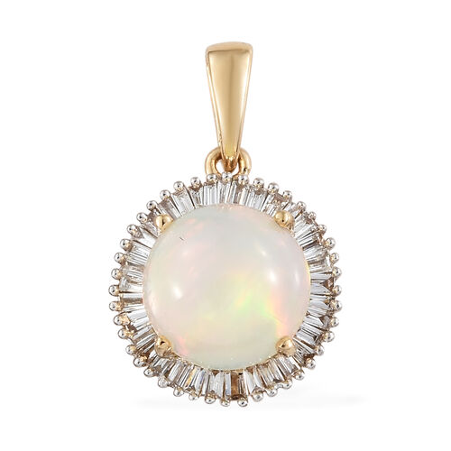 ILIANA  2.15 Ct AAA Rare Size Ethiopian Welo Opal and Diamond Halo Pendant in 18K Gold