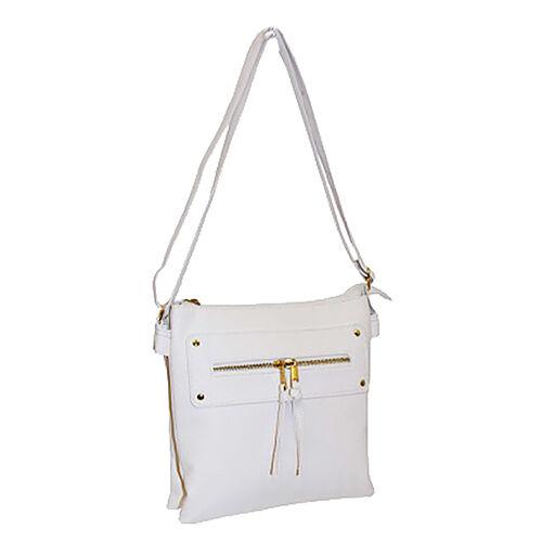 New for Season - Multi Compartment Super Soft Cross Body Bag (26 x 24 x 6 Cms) - White