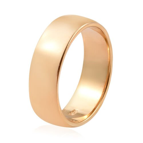 14K Gold Overlay Sterling SIlver Plain Band Ring