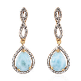 Larimar (Pear) Drop Earrings (with Push Back) in 14K Gold Overlay Sterling Silver 3.500 Ct.