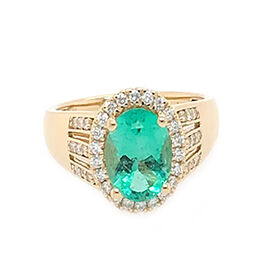 ILIANA 1.60 Ct AAA Boyaca Colombian Emerald and Diamond Halo Ring in 18K Gold SI GH