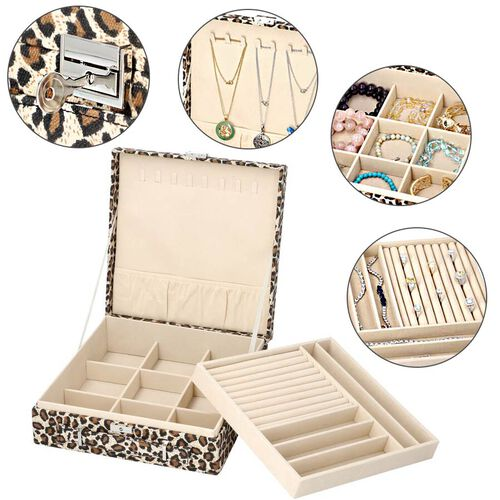 Two-Tier Brown Leopard Pattern Jewellery Box with Anti-Tarnish Lining