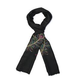 100% Cashmere Wool Jacquard Feather Black Colour Scarf (Size 200x70 Cm)