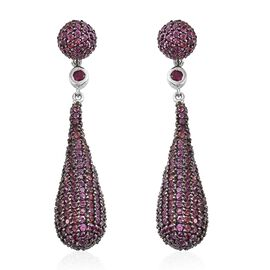 Red Carpet Collection - Rhodolite Garnet (Rnd) Earrings (with Push Back) in Black and Platinum Overlay Sterling Silver 11.000 Ct., Silver wt. 10.73Gms and No. of Stones 544pcs