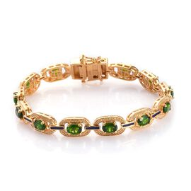 Russian Diopside Enamelled Bracelet (Size 7) in 14K Gold Overlay Sterling Silver 6.25 Ct, Silver wt