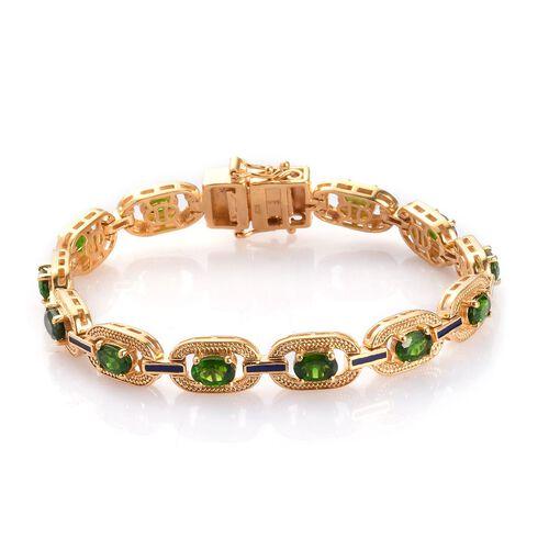 Russian Diopside Enamelled Bracelet (Size 7) in 14K Gold Overlay Sterling Silver 6.25 Ct, Silver wt