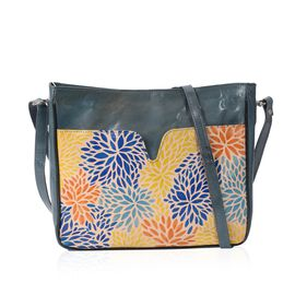 Super Auction - 100% Genuine Leather Hand Painted Multicolour Leaf Crossbody Bag (29x7x24 Cm) - Dark
