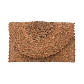 Bali Collection Plam Leaf Sisik Pattern Woven Clutch Handbags (Size:57x35x25Cm) - Light Brown