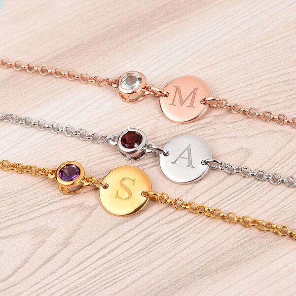 Personalised Engraved Initial and Birthstone  Bracelet