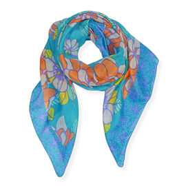 100% Mulberry Silk Floral Print Scarf (Size 100x100 Cm) - Blue and Multicolour