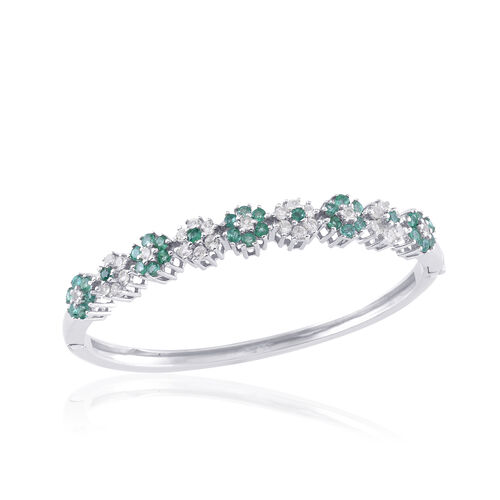 Kagem Zambian Emerald (Rnd), White Sapphire Bangle (Size 7) in Platinum Overlay Sterling Silver 4.000 Ct. Silver wt 15.96 Gms.