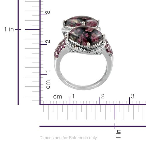 Natural Russian Eudialyte (Cush), Rhodolite Garnet and Diamond Ring in Platinum Overlay Sterling Silver 10.170 Ct.