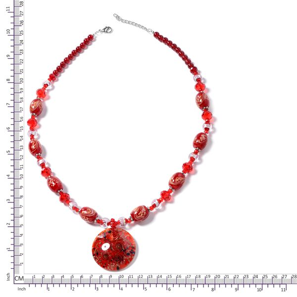 Red Murano Style Glass and Simulated Ruby Beads Necklace (Size 28 with 3 inch Extender) in Silver Plated