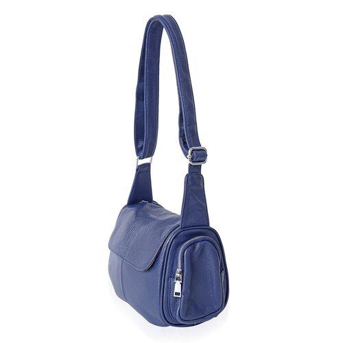 Sencillez 100% Genuine Leather Navy Colour Cross Body Bag with Adjustable Shoulder Strap (Size 22x20x12 Cm)