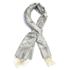 SILK MARK - 100% Superfine Silk Off White and Multi Colour Paisley Pattern Jacquard Jamawar Scarf wi