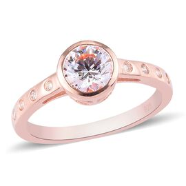 J Francis Rose Gold Overlay Sterling Silver Ring Made with SWAROVSKI ZIRCONIA 1.77 Ct.