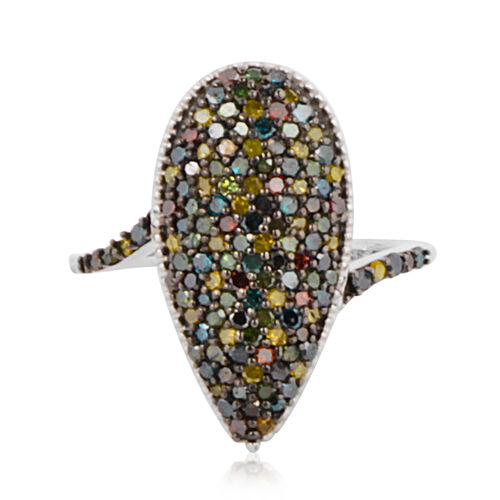 Multi Colour Natural Diamond (Rnd) Ring in Black Platinum Overlay Sterling Silver 1.000 Ct. Number of Diamonds 125