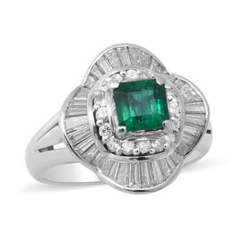 900 White Platinum  Colombian Emerald   Diamond  Ring 1.83 ct,  Platinum Wt. 10.43 Gms  1.830  Ct.