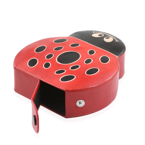 100% Genuine Leather Black and Red Colour Hand Painted Lady Bug Shape Money Bank (Size 14x13x4 Cm)