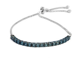 Blue Diamond (Rnd) Bolo Bracelet (Size 6.5-9 Adjustable) in Rhodium Overlay Sterling Silver 0.25 Ct