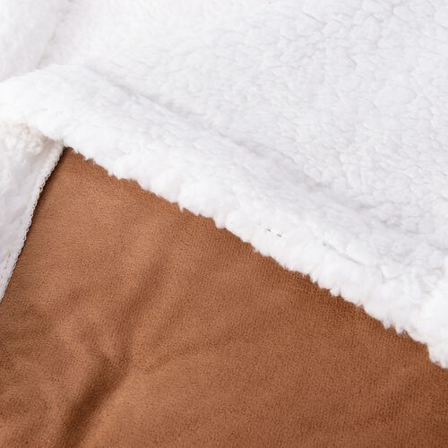 Copper Colour Checker Pattern Faux Suede Patchwork Blanket with Sherpa Reverse (Size 200x150 Cm)