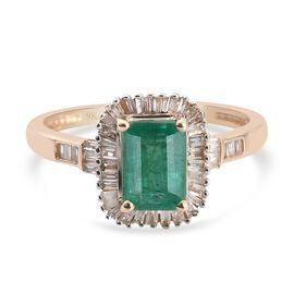 OTO - 9K Yellow Gold Premium Kagem Zambian Emerald and Diamond Ring 1.27 Ct.