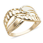 Royal Bali Collection Diamond Cut Criss Cross Ring (Size M) in 9K Yellow Gold