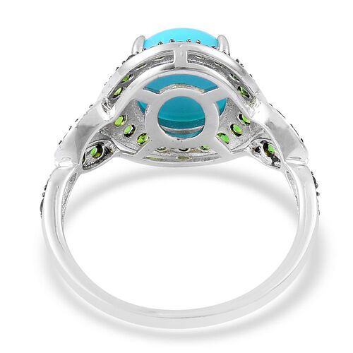 Arizona Sleeping Beauty Turquoise (Ovl 2.25 Ct), Russian Diopside Ring in Black Rhodium Plated Sterling Silver 2.850 Ct.