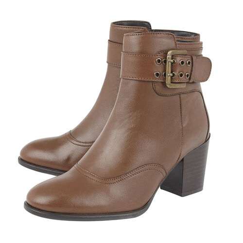 Lotus Tan Leather Lark Heeled Ankle Boots (Size 5)