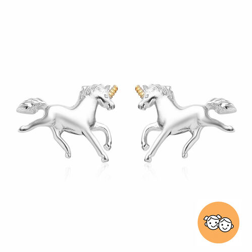 Unicorn Earrings for Girls in Platinum and Gold Plated Silver with Push Back