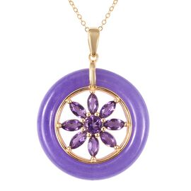 Purple Jade and Amethyst Floral Circle Pendant With Chain (Size 18) in Yellow Gold Overlay Sterling