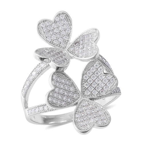 ELANZA Simulated Diamond (Rnd) Flower Ring in Rhodium Overlay Sterling Silver
