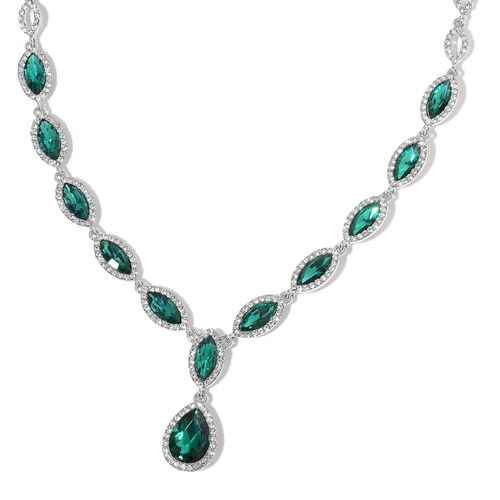 Simulated Emerald and White Austrian Crystal Necklace (Size 20 with 3 inch Extender) in Silver Tone