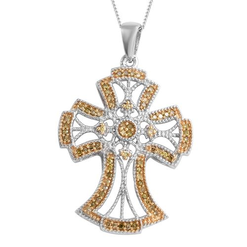 Yellow Diamond (Rnd) Cross Pendant with Chain (Size 18)  in Platinum and Yellow Overlay Sterling Sil