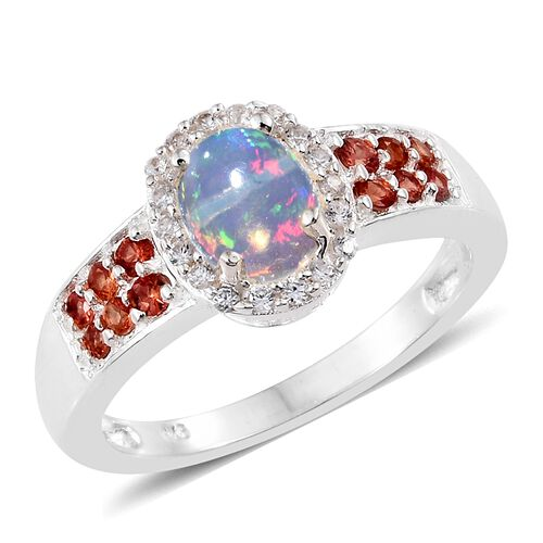 Ethiopian Welo Opal (Ovl), Red Sapphire and Natural Cambodian Zircon Ring in Sterling Silver 1.250 Ct.