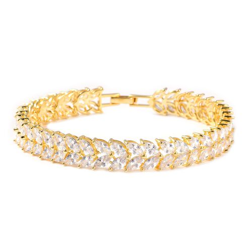 ELANZA Simulated Diamond Leafy Vine Bracelet in Gold Plated Sterling Silver 12.51 Grams 7.5 Inch
