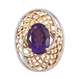 Lusaka Amethyst (Ovl 14x10 mm) Pendant in Platinum and Yellow Gold Overlay Sterling Silver 5.250 Ct.