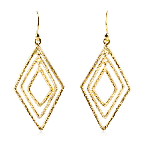NY Designer Close Out Deal - Yellow Gold Overlay Sterling Silver Diamond Cut Hook Earrings