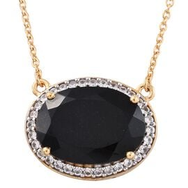 Black Tourmaline (Ovl 12.50 Ct), Natural Cambodian Zircon Necklace (Size 18) in 14K Gold Overlay Sterling Silver 13.000 Ct.