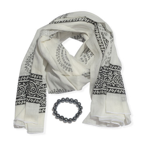 Black and White Colour Block Print Scarf (Size 180x115 Cm) with Hematite Beads Stretcheble Bracelet