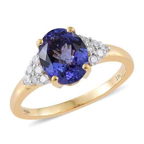 ILIANA 3 Carat AAA Tanzanite and Diamond Ring in 18K Yellow Gold 5.64 Grams