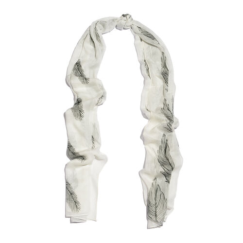 White and Olive Colour Scarf (Size 170x65 Cm)