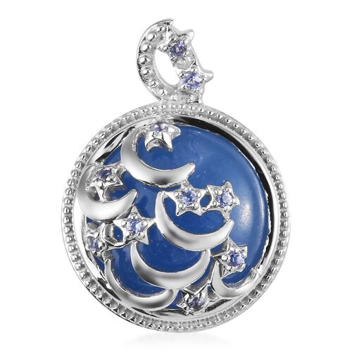 GP - Blue Jade, Tanzanite and Blue Sapphire Moon and Stars Pendant in Platinum Overlay Sterling Silv